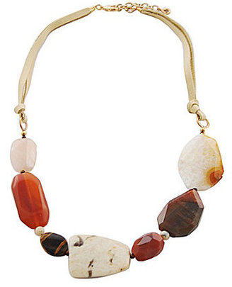 Barse Genuine Stone and Leather Beaded Necklace