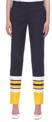 Michael Kors Stripe-Cuff Broadcloth Pants