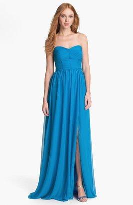 Monique Lhuillier ML Bridesmaids Strapless Mesh Gown
