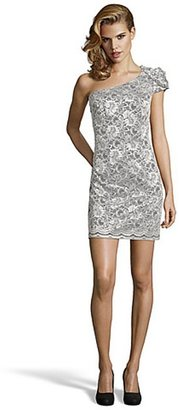 ABS by Allen Schwartz ivory and black lace one shoulder mini dress