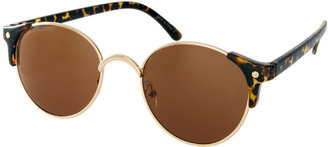 Asos Metal Round Sunglasses With Corner Detail
