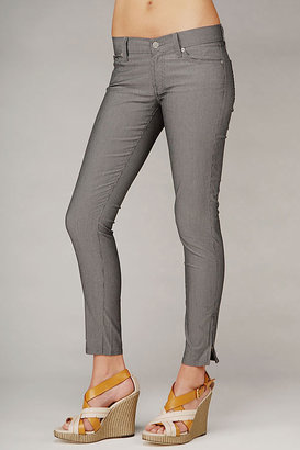 7 For All Mankind Crop Roxanne With Side Zipper In Grey