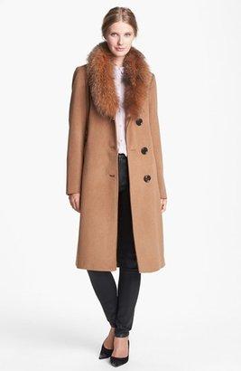 Ellen Tracy Genuine Fox Fur Trim Belted Long Coat (Regular & Petite) (Online Only)