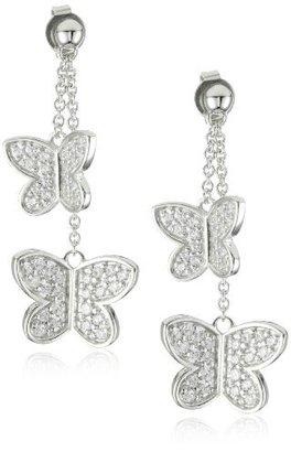 """Esprit Shiny Butterfly"""" White Cubic Zirconia Drop Earrings"""