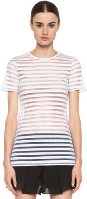Alexander Wang Shadow Stripe Fitted Short Sleeve Tee in White