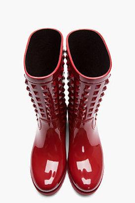 RED Valentino VALENTINO Red Patent PVC Rockstud Rainboots