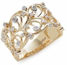 Effy D'Oro 14K Yellow Gold 0.26 TCW Diamond Vine Ring