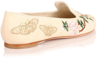 Alexander McQueen Embroidered cream suede flat