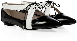 Marc Jacobs Black/White Patent Leather Lace-Up Flats