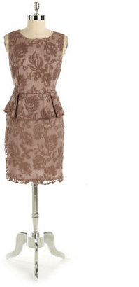 Adrianna Papell Embroidered Lace Peplum Dress