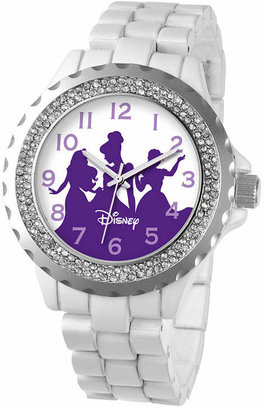 Disney Womens Princess White Enamel Sparkle Watch
