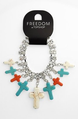 Topshop Rhinestone & Turquoise Cross Bracelet Dark Multi
