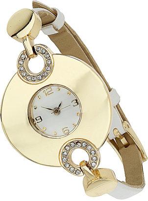Wallis White Circle Leather Watch