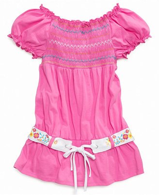 Tempted Kids Shirt, Girls Belted Smocked Top