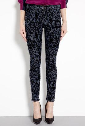 J Brand Denim Black Brocade Maria High Rise Skinny Jeans