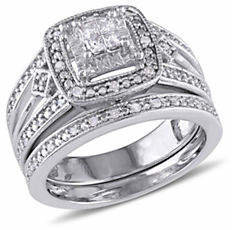 CONCERTO Princess-Cut 0.24 TCW Diamond Quad Filigree Sterling Silver Bridal Ring Set