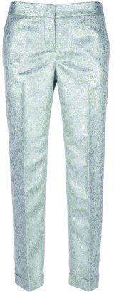 Tory Burch metallic paisley print trouser