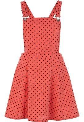 River Island Coral heart print pinafore dress