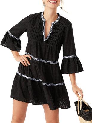 Tommy Bahama Embroidered Tassel V-Neck Cotton Tunic Dress
