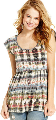 6 Degrees Juniors Top, Cap Sleeve Tie-Dye-Print