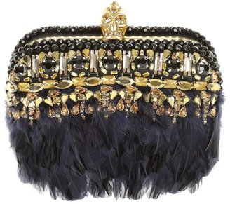 Alexander McQueen Embroidered Punk Skull Box Clutch