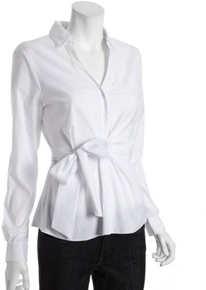 Tahari white stretch cotton 'Sally' tie waist blouse
