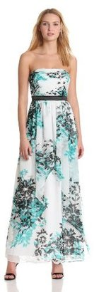 Max & Cleo Women's Strapless Floral Gown