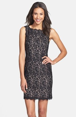 Adrianna Papell Women's Boatneck Lace Sheath Dress