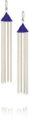 Chan Luu Silver-plated beaded tassel earrings