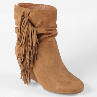 Journee Collection galaxy fringed slouch wedge boots - women