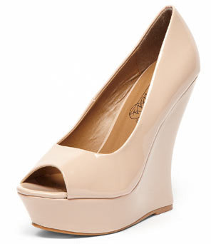 Dorothy Perkins Timeless Nude patent curved wedges