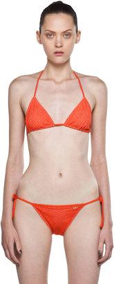 Chloé Laser Cut Triangle Bikini in Coral