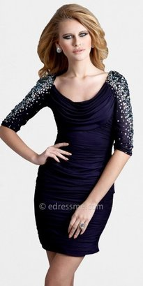 Terani Couture Glitter Elbow Sleeved Scoop Neck Dresses