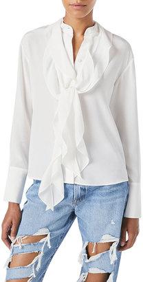 Frame Marguerite Silk Tie-Neck Blouse