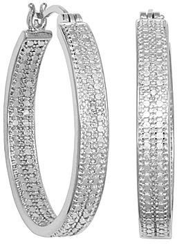 JCPenney CLASSIC TREASURES Large Diamond-Accent Hoop Earrings