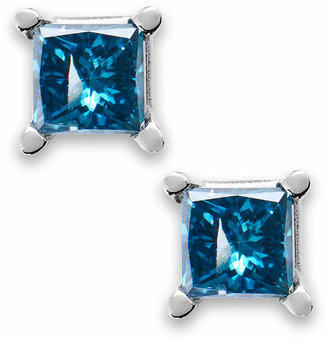 Macy's 10k White Gold Blue Diamond Stud Earrings (1/6 ct. t.w.)