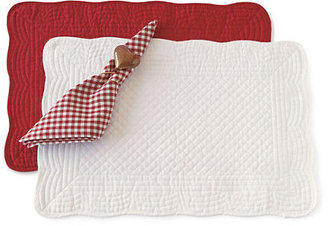 Gump's Red & White Quilted Table Linens