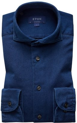 Eton Soft Satin Indigo Shirt - Contemporary Fit