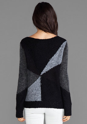 Alice + Olivia Elsa Sheer and Boucle Blocked Sweater in Black/Charcoal