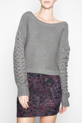 BCBGMAXAZRIA Bcbgeneration Mixed-Stitch Cropped Sweater