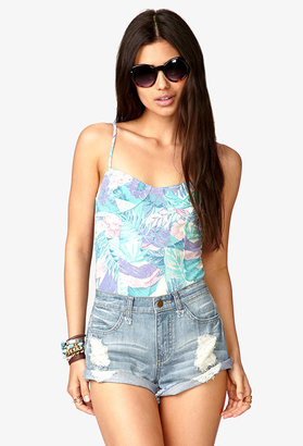 Forever 21 Fade-Out Tropical Bodysuit