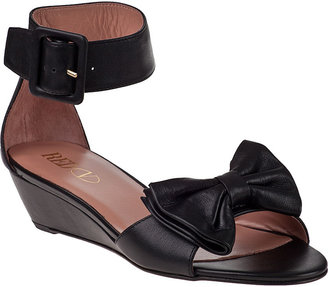 RED Valentino Bow Wedge Sandal Black Leather