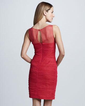 Monique Lhuillier Shirred Cocktail Dress