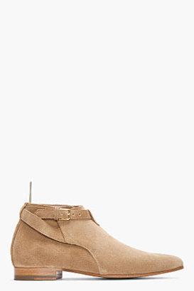 Saint Laurent Beige cropped jodhpur ankle boots