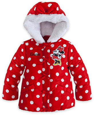 Disney Minnie Mouse Hooded Puffy Jacket for Girls - Personalized