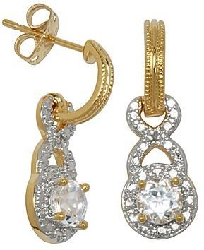 JCPenney White Topaz w/ Diamond-Accent Drop Earrings