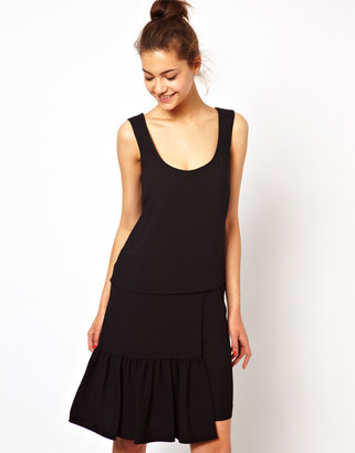 Love Moschino Drop Waist Shift Dress in Wool Mix