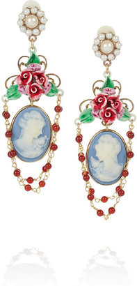 Dolce & Gabbana Gold-tone faux pearl cameo clip earrings
