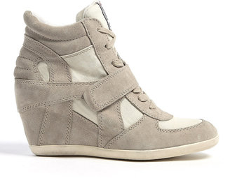 Ash Clay Bowie Suede And Canvas Wedge Trainers