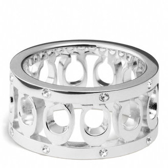 Coach Sterling Signature C Pave Band Ring